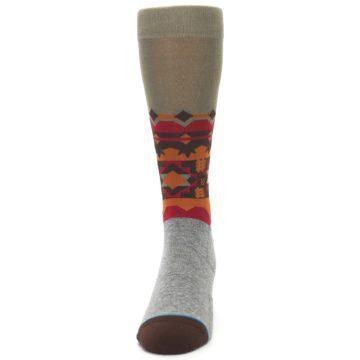 Image of Grey Orange Tribal Pattern Men's Casual Socks (front-05)