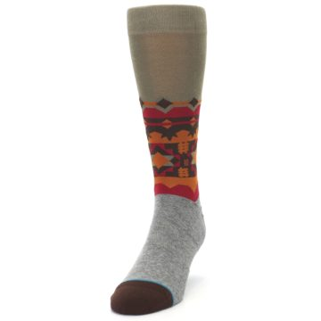 Image of Grey Orange Tribal Pattern Men's Casual Socks (side-2-front-06)