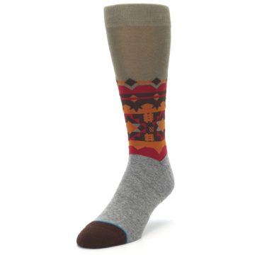 Image of Grey Orange Tribal Pattern Men's Casual Socks (side-2-front-07)