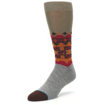 Image of Grey Orange Tribal Pattern Men's Casual Socks (side-2-front-08)