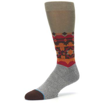 Image of Grey Orange Tribal Pattern Men's Casual Socks (side-2-09)