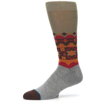 Image of Grey Orange Tribal Pattern Men's Casual Socks (side-2-10)