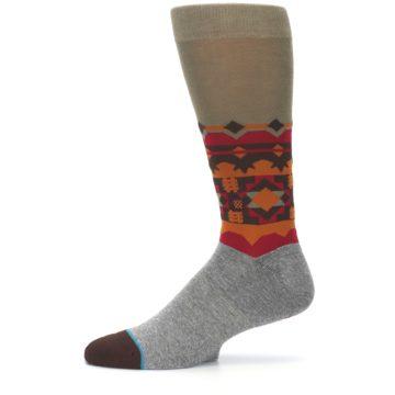 Image of Grey Orange Tribal Pattern Men's Casual Socks (side-2-11)