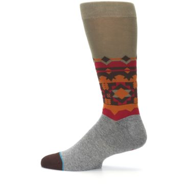 Image of Grey Orange Tribal Pattern Men's Casual Socks (side-2-12)