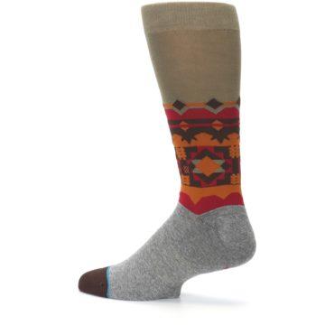 Image of Grey Orange Tribal Pattern Men's Casual Socks (side-2-13)