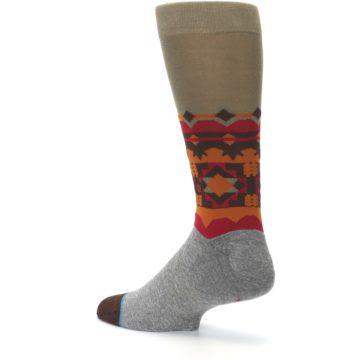 Image of Grey Orange Tribal Pattern Men's Casual Socks (side-2-back-14)