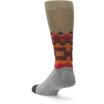 Image of Grey Orange Tribal Pattern Men's Casual Socks (side-2-back-15)