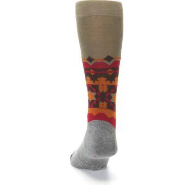 Image of Grey Orange Tribal Pattern Men's Casual Socks (back-17)