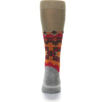Image of Grey Orange Tribal Pattern Men's Casual Socks (back-18)