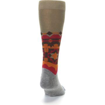 Image of Grey Orange Tribal Pattern Men's Casual Socks (back-19)