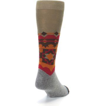 Image of Grey Orange Tribal Pattern Men's Casual Socks (side-1-back-20)