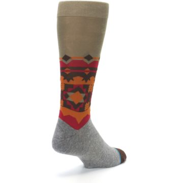 Image of Grey Orange Tribal Pattern Men's Casual Socks (side-1-back-21)
