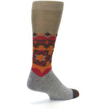 Image of Grey Orange Tribal Pattern Men's Casual Socks (side-1-back-22)