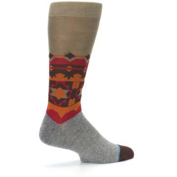 Image of Grey Orange Tribal Pattern Men's Casual Socks (side-1-23)