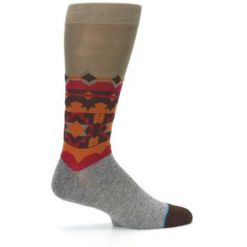 Image of Grey Orange Tribal Pattern Men's Casual Socks (side-1-24)