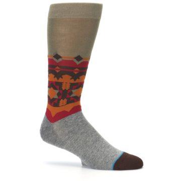 Image of Grey Orange Tribal Pattern Men's Casual Socks (side-1-25)