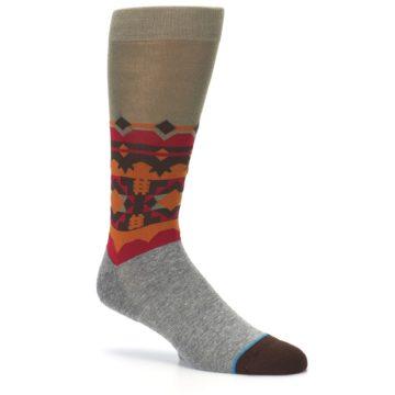 Image of Grey Orange Tribal Pattern Men's Casual Socks (side-1-26)