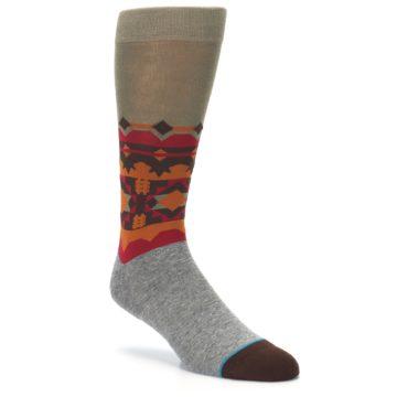 Image of Grey Orange Tribal Pattern Men's Casual Socks (side-1-27)