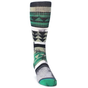Image of Green Black Triangle Pattern Men's Casual Socks (side-1-front-03)