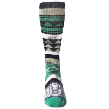 Image of Green Black Triangle Pattern Men's Casual Socks (front-04)