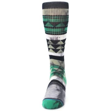 Image of Green Black Triangle Pattern Men's Casual Socks (front-05)