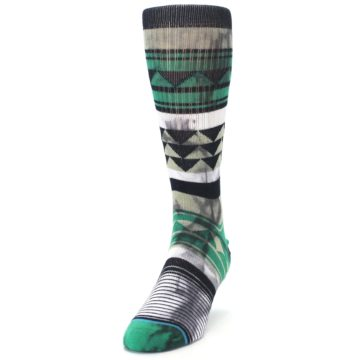 Image of Green Black Triangle Pattern Men's Casual Socks (side-2-front-06)