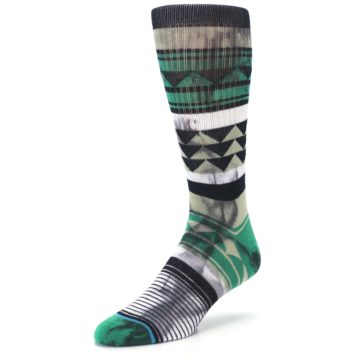 Image of Green Black Triangle Pattern Men's Casual Socks (side-2-front-08)