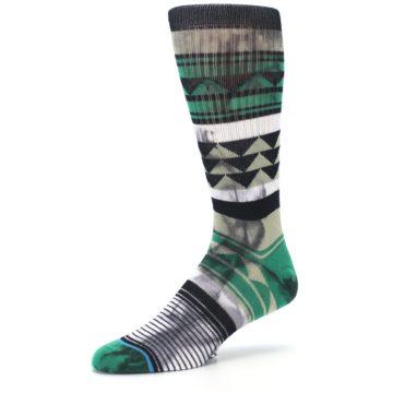 Image of Green Black Triangle Pattern Men's Casual Socks (side-2-09)