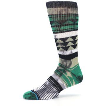 Image of Green Black Triangle Pattern Men's Casual Socks (side-2-10)