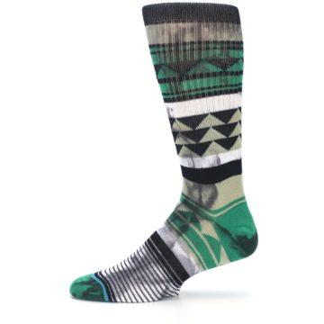 Image of Green Black Triangle Pattern Men's Casual Socks (side-2-11)