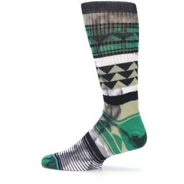 Image of Green Black Triangle Pattern Men's Casual Socks (side-2-12)