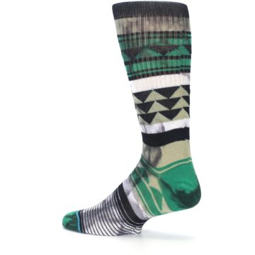 Image of Green Black Triangle Pattern Men's Casual Socks (side-2-13)