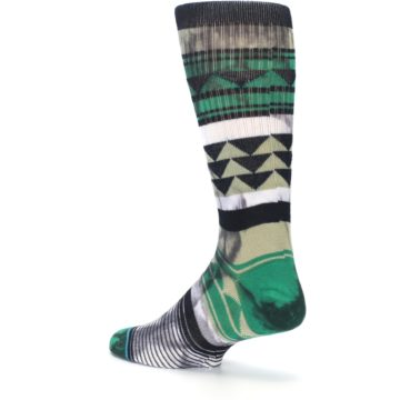 Image of Green Black Triangle Pattern Men's Casual Socks (side-2-back-14)