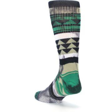 Image of Green Black Triangle Pattern Men's Casual Socks (side-2-back-15)