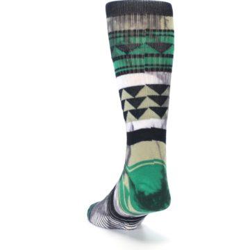 Image of Green Black Triangle Pattern Men's Casual Socks (side-2-back-16)