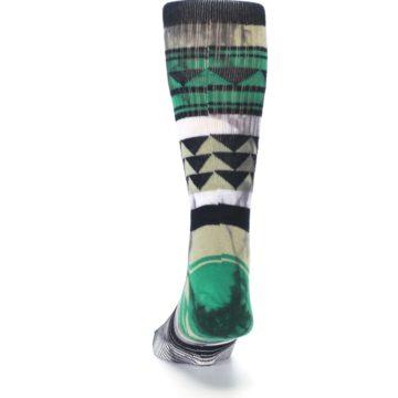 Image of Green Black Triangle Pattern Men's Casual Socks (back-17)