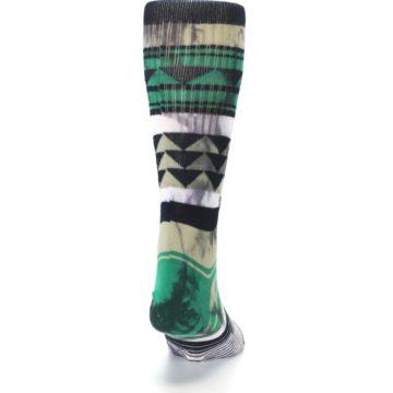 Image of Green Black Triangle Pattern Men's Casual Socks (back-19)