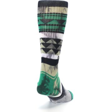Image of Green Black Triangle Pattern Men's Casual Socks (side-1-back-20)