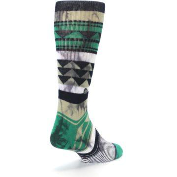 Image of Green Black Triangle Pattern Men's Casual Socks (side-1-back-21)