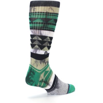 Image of Green Black Triangle Pattern Men's Casual Socks (side-1-back-22)