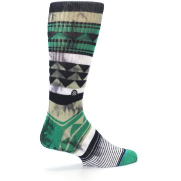 Image of Green Black Triangle Pattern Men's Casual Socks (side-1-23)