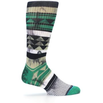 Image of Green Black Triangle Pattern Men's Casual Socks (side-1-24)