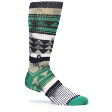 Image of Green Black Triangle Pattern Men's Casual Socks (side-1-25)