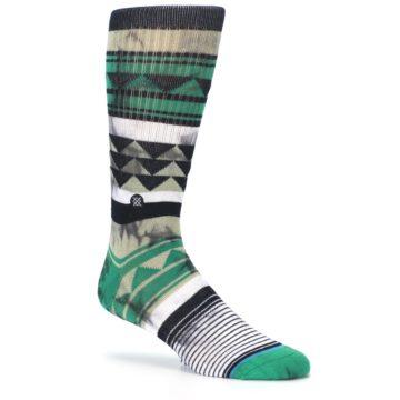 Image of Green Black Triangle Pattern Men's Casual Socks (side-1-26)