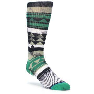 Image of Green Black Triangle Pattern Men's Casual Socks (side-1-27)