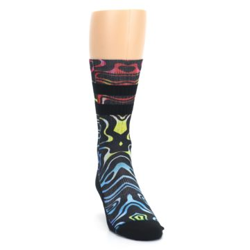 Image of Black Multi Patterned Men's Casual Socks (side-1-front-03)