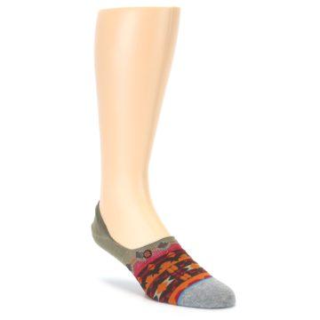 Grey Orange Tribal Pattern Men's Liner Socks