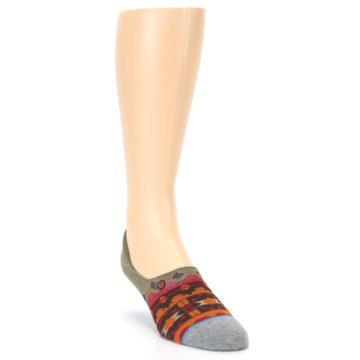 Image of Grey Orange Tribal Pattern Men's Liner Socks (side-1-front-02)