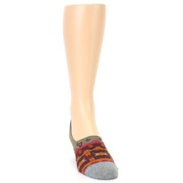 Image of Grey Orange Tribal Pattern Men's Liner Socks (side-1-front-03)