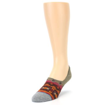 Image of Grey Orange Tribal Pattern Men's Liner Socks (side-2-front-07)